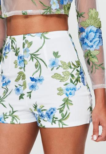 white-floral-mesh-embroidered-high-waisted-shorts